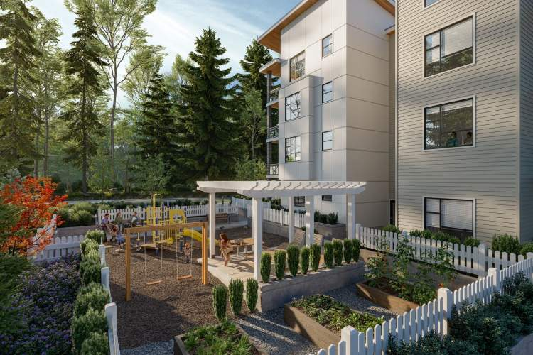 A resident common area includes a children's play space, seating areas, and garden plots.