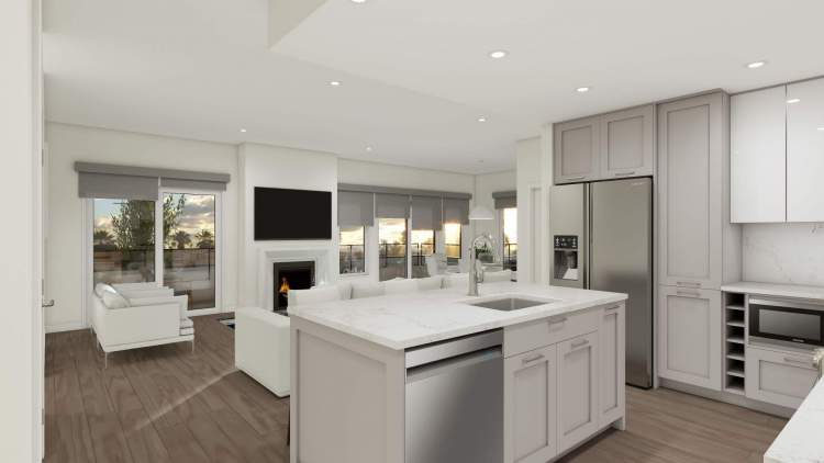 All homes come with a kitchen island, premium stainless steel appliances, and quartz countertops.