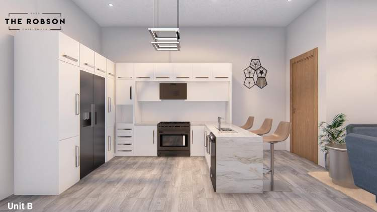 Features stainless steel appliances, high-gloss cabinets, and quartz countertops.