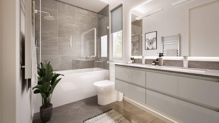 En suites feature double vanities, glass-enclosed showers, and natural stone finishes.