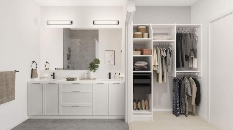 Functional design means a walk-in closet next to the en suite with his & her sinks.