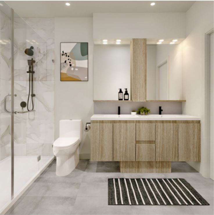 Beautiful bathrooms feature custom vanities, large format stone floors, and frameless glass shower enclosures.