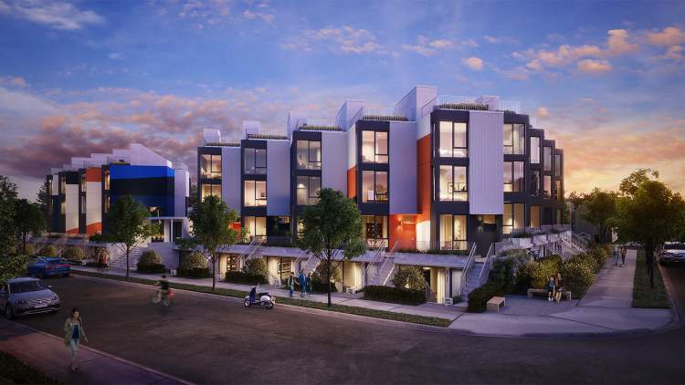 The project is thought of as a series of individually-rendered homes, rather than a solid wall along the street.