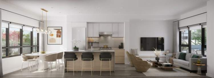 Artist render of Lilibet living area.