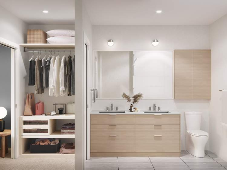 En suites feature a custom vanity with large drawers, seamless Corian countertops, and dual-flush toilets.