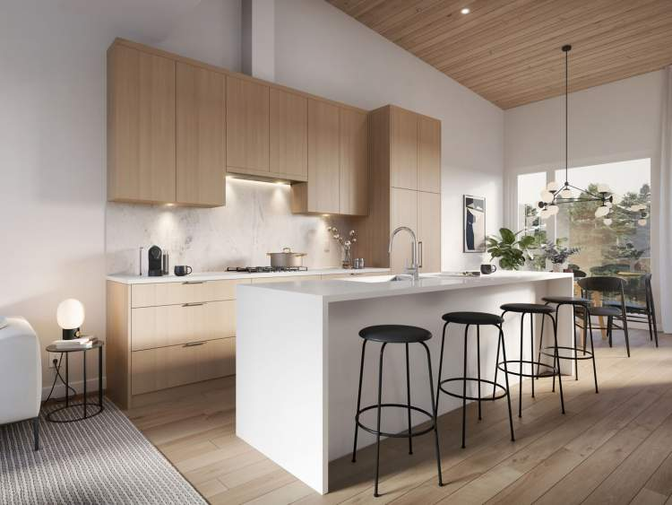 Gourmet kitchens include large islands, premium Fisher & Paykel appliances, sleek cabinetry, and custom Corian countertops.