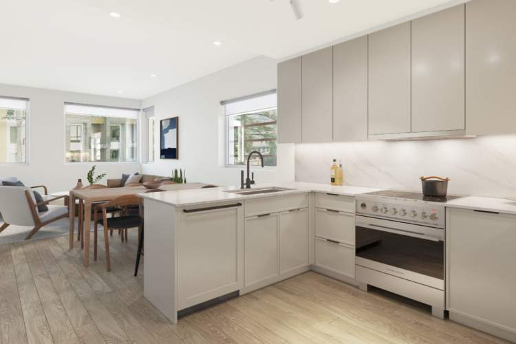 European-style kitchens feature Fisher & Paykel appliances and traditional Shaker-style cabinetry.