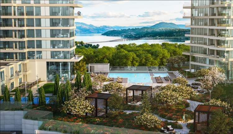 A 1.3-acre landscaped amenities space inspired by outdoor living at world-class resorts.