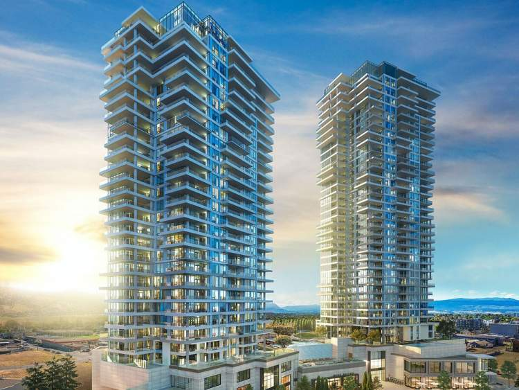 Commands the Kelowna skyline with twin highrises at 36 and 29 storeys.