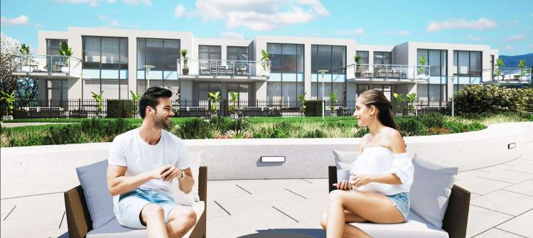 ONE Water Street: Townhomes Spacious 3-bedroom floorplans include expansive private outdoor living spaces and walk-out access to The Bench.