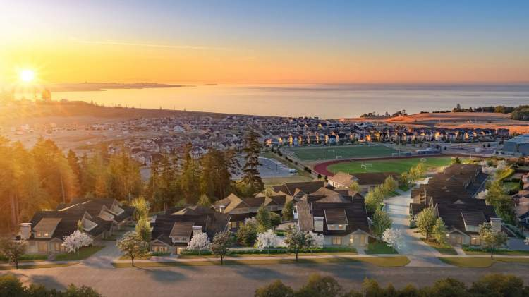 A collection of 31 x 3-bedroom master-on-main townhomes in Colwood.
