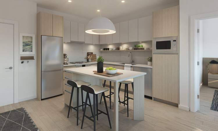 Features stainless steel appliances and kitchen island with matching quartz countertop and dining/working accommodations.