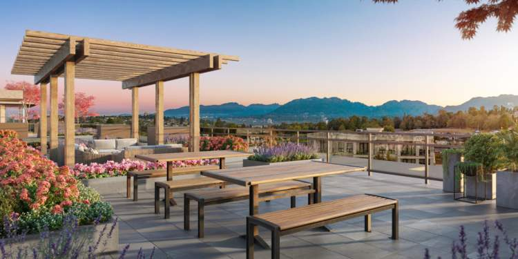 A rooftop terrace will feature a lounge, barbeque space, and picnic table dining area with panoramic city views.