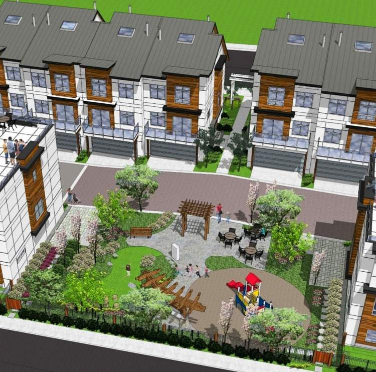 Residents can enjoy an outdoor community space with a lawn, children's playground, and seating area.