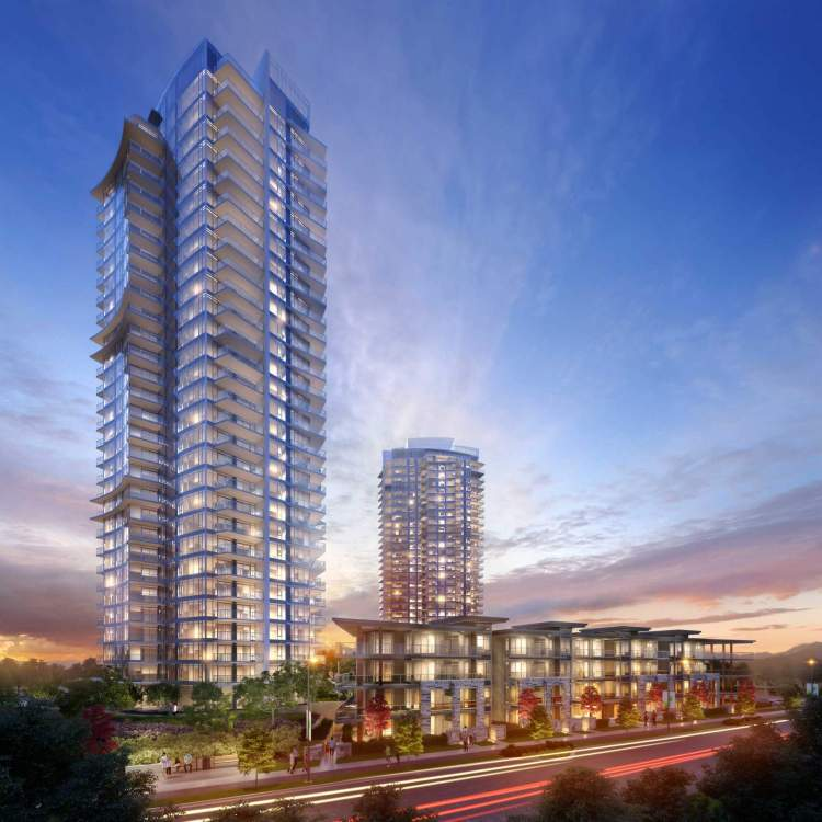 Vibrant blue accents draw your eyes skyward, focusing on 30 storeys of a gently curving glass façade.