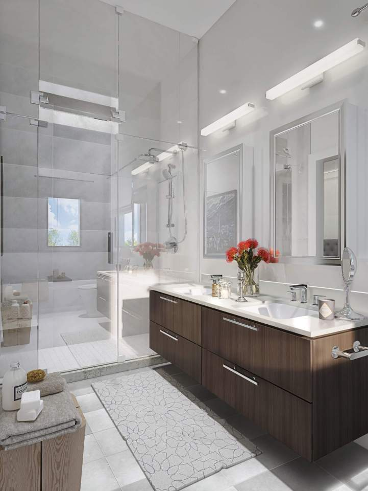 Burgundy bathroom.
