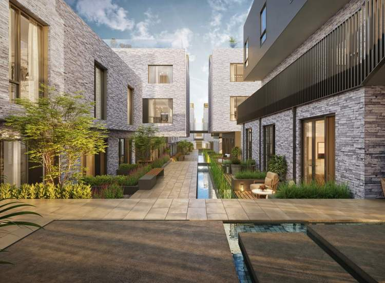 Artfully landscaped courtyard with stunning water features.