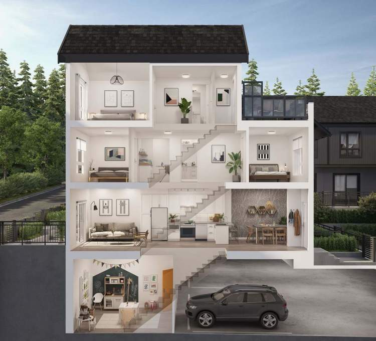 Expect lots of in-home storage, laundry room, built-in desks, direct access to parking, private yard, and rooftop deck.