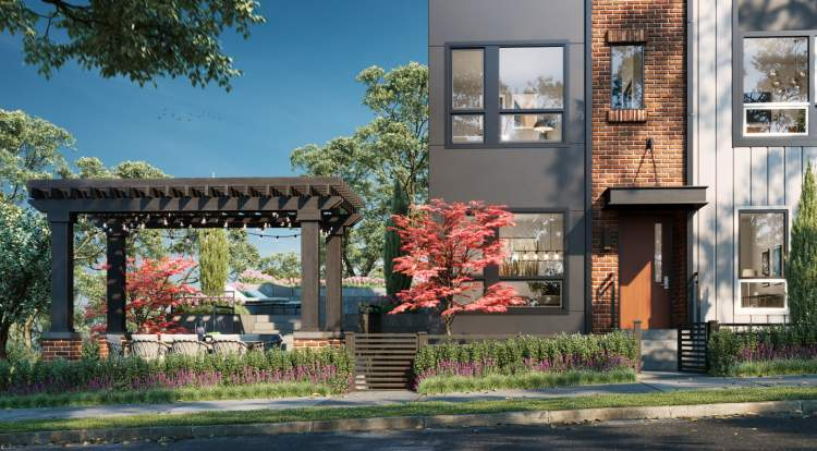 These 3-bedroom + flex, brick-architecture townhomes are designed for an evolving, transit-oriented community.