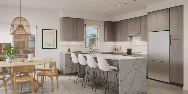 Family-size kitchen island, full-depth pantry, stainless steel appliances, and custom millwork.