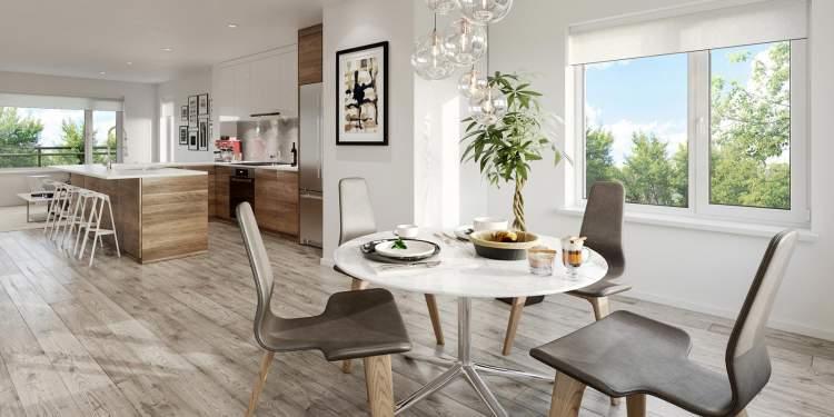 European-inspired kitchens boast white quartz counters with undermount sinks.