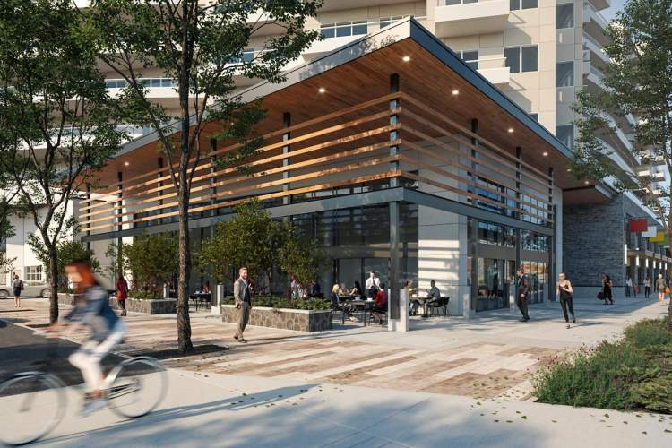 Movala features ground level commercial space along Lakeshore Drive, including a restaurant.