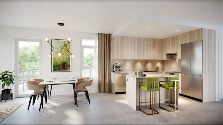 Stainless steel appliance package and spacious kitchen islands make cooking a breeze.
