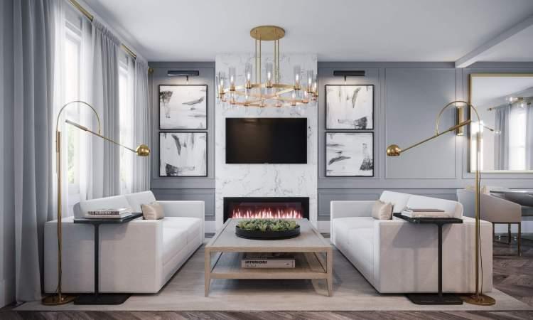 Designer concept for Parallel townhouse living room.