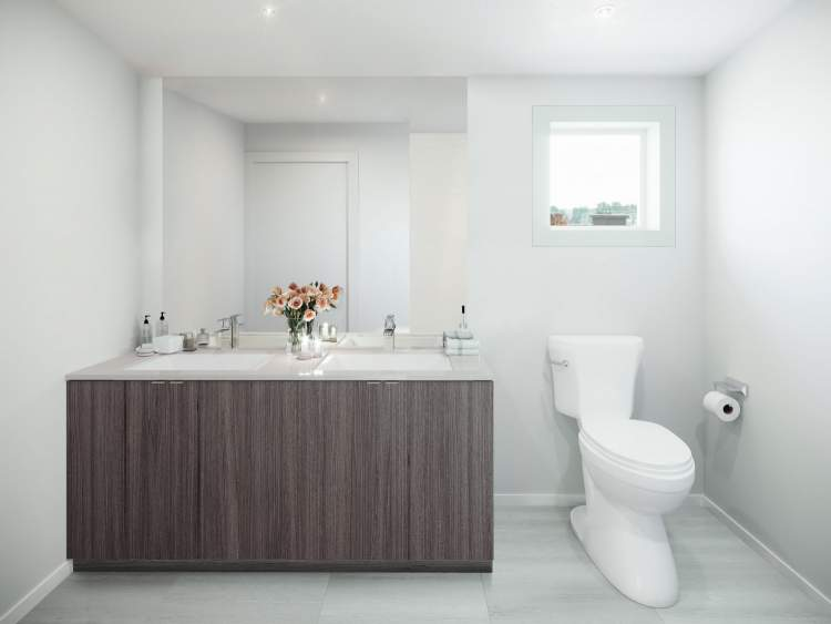Designer rendering of Rae Garden bathroom.