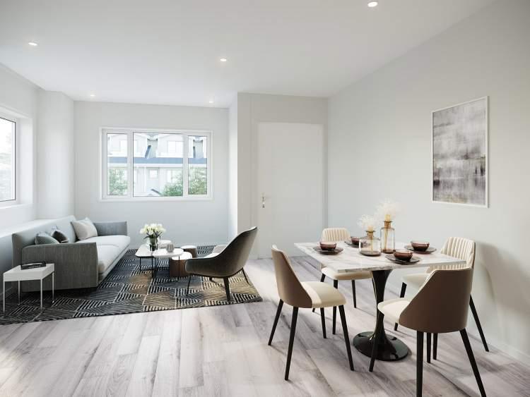 Designer rendering of Rae Garden living room.