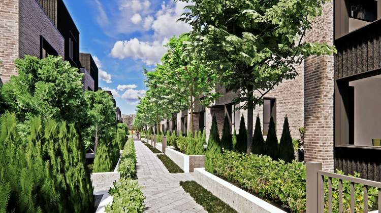 A mews provides homes with with patios, planters, landscaping, and more natural light.