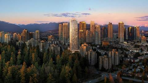 An Elegant 43-storey Residential Condo Tower In Burnaby's Vibrant Metrotown Neighbourhood.