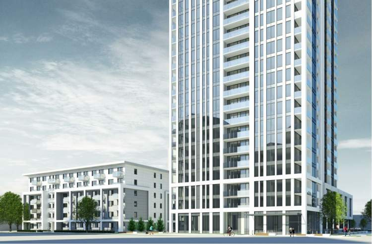 View of 6-storey apartment building and base of condo highrise from Willingdon Street.