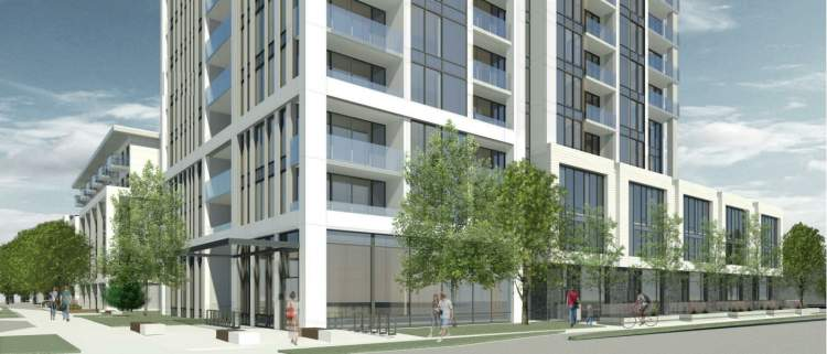 View of condo tower base and townhomes from the corner of Willingdon Avenue & Maywood Street.