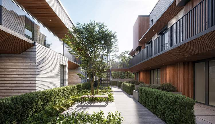 All units enjoy direct access to the shared courtyard that becomes the social heart of the development.