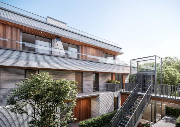 These architecturally-driven residences feature elevator access to upper-level homes.