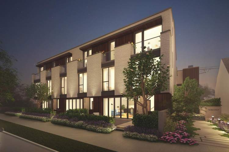 Luxury West Side townhomes and penthouses nestled on a peaceful tree-lined street.