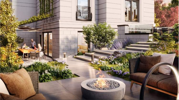 Outdoor communal spaces adjacent to the indoor amenity.