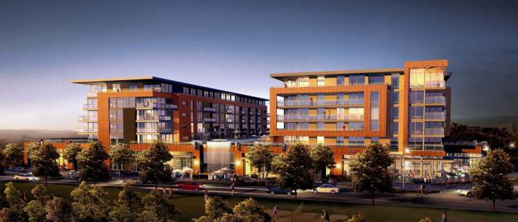 A mixed-use building with upscale retail shops, 123 condominiums, and seven townhomes.