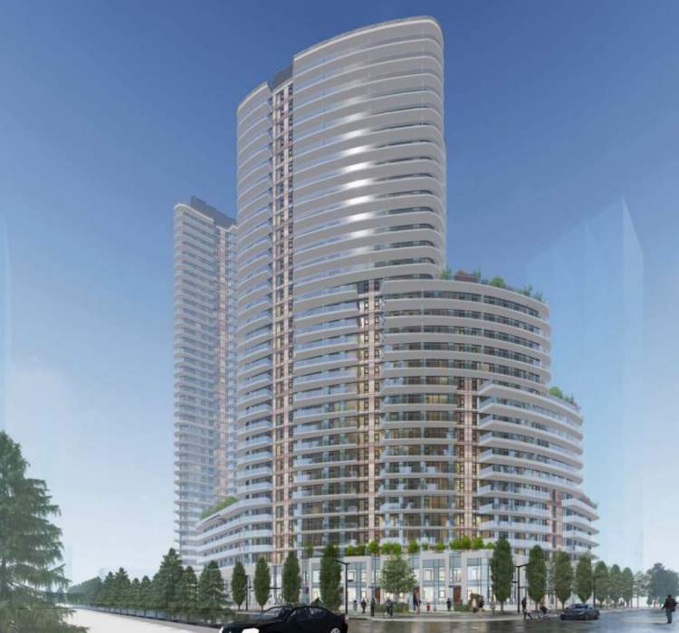 Artist render of perspective looking southwest from the corner of 105A Avenue and City Parkway.