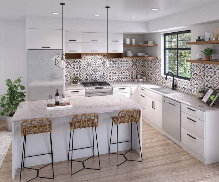 Open-concept kitchens with an expansive multi-function kitchen island.