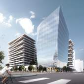The intersection at No. 3 Road and Lansdowne is marked with a signature office tower.
