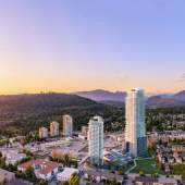 A 50-story condominium tower that's part of the Burquitlam Park mixed-use development.