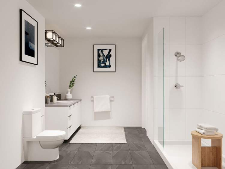 En suites provide large walk-in showers with frameless glass and large shower head.