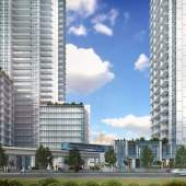 A high-density, transit-oriented development with 2 condo towers and a rental apartment mid-rise.