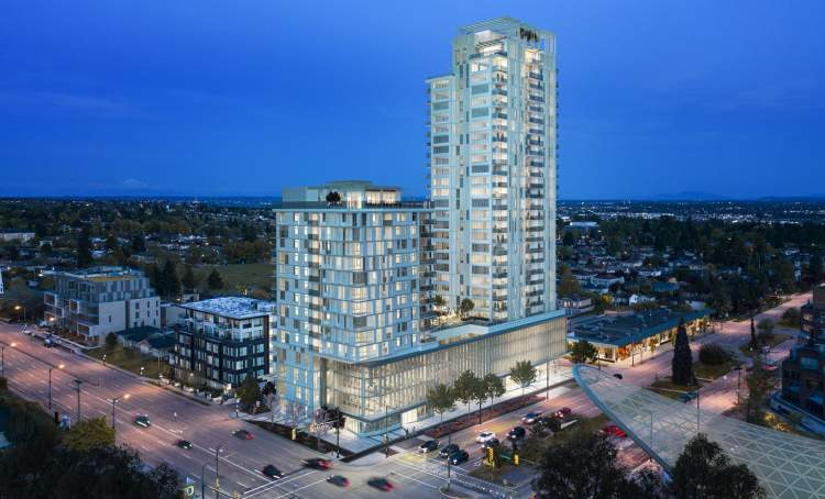 A 2-tower, mixed-use development with condominiums, market rentals, and commercial space.