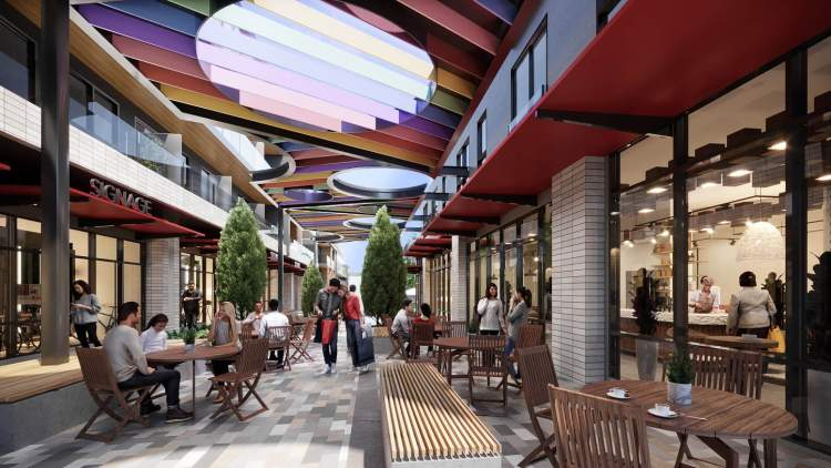 A dynamic outdoor space for shops, restaurants, boutiques, offices, and more.