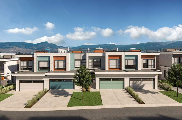 A collection of 108 West Kelowna townhomes with spacious rooftop decks.